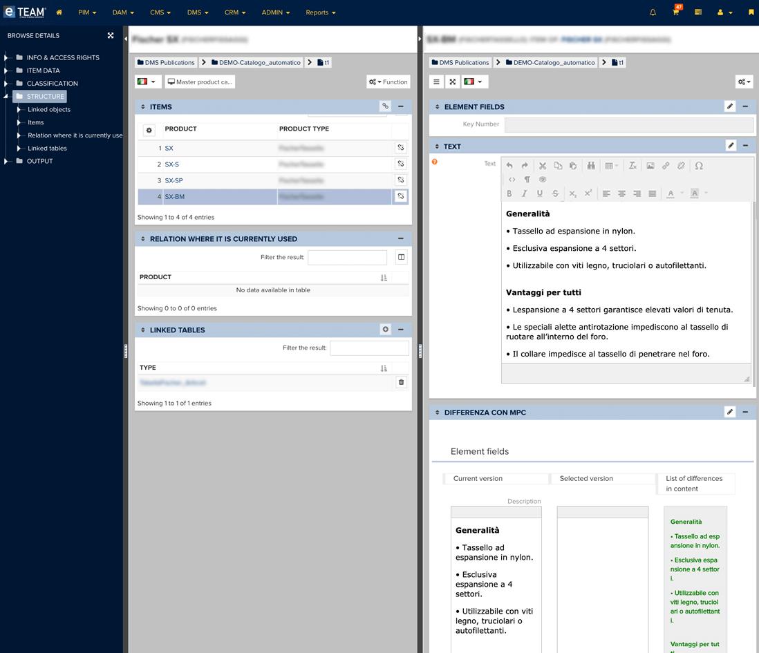 Database di contenuti testuali collegati al prodotto